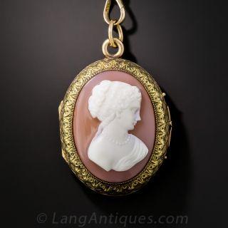 Antique Victorian Cameo Locket Necklace