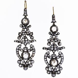 Antique Victorian Diamond Drop Earrings - 1