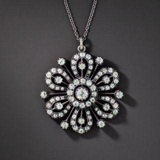 Antique Victorian Diamond Flower Brooch/Pendant - 5