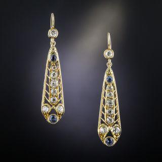 Antique Yellow Gold Diamond Sapphire Earrings - 2