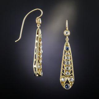 Antique Yellow Gold Diamond Sapphire Earrings