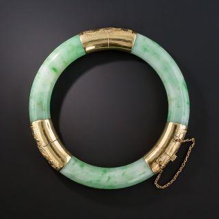 Apple Green Hinged Jade Bangle Bangle - 2