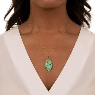 Estate Apple Jade Carving with Diamond Cap Pendant