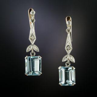Aquamarine and Diamond Dangle Earrings - 2