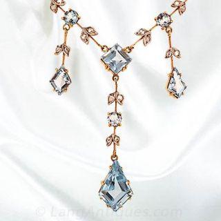 Aquamarine and Diamond Fringe Style Necklace
