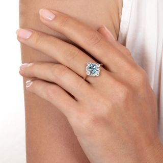 Edwardian Style Aquamarine and Diamond Ring