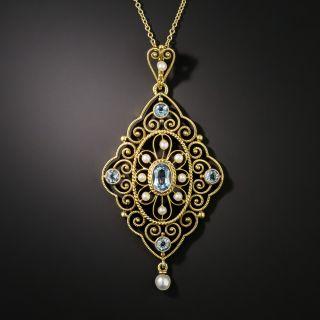 Victorian Aquamarine and Pearl Pendant - 2