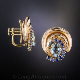 Aquamarine and Sapphire Retro Earrings