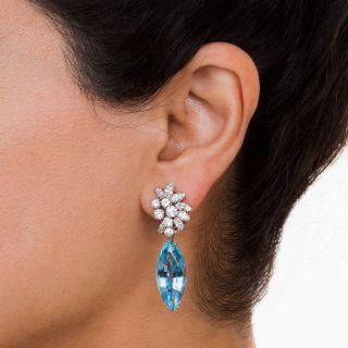 Aquamarine, Platinum and Diamond Earrings