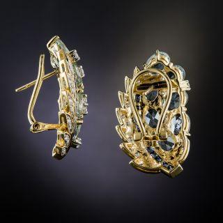 Aquamarine, Sapphire and Diamond Earrings
