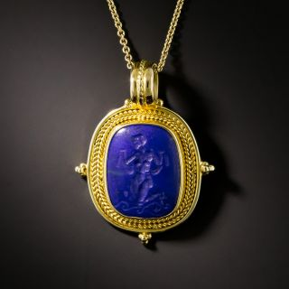 Archeological Revival Style18K Gold and Lapis Lazuli Carved Pendant - 2