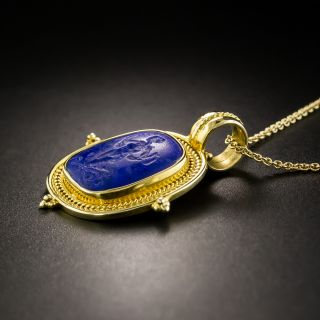 Archeological Revival Style 18K Gold and Lapis Lazuli Carved Pendant