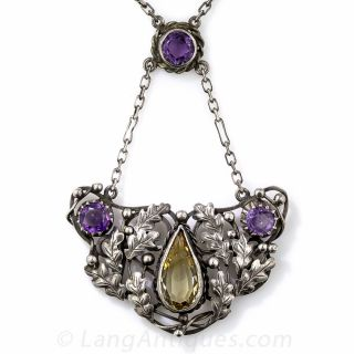 Art & Crafts Sterling Silver, Citrine and Amethyst Necklace