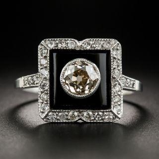 Art Deco 1.00 Carat Diamond Onyx Platinum Ring - 2