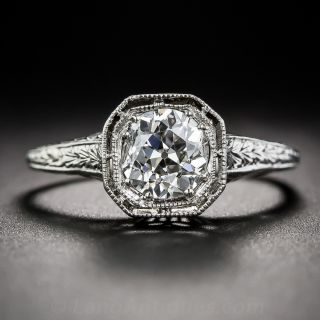 Art Deco 1.00 Carat Diamond Platinum Solitaire Engagement Ring - GIA F VS1 - 1