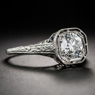 Art Deco 1.00 Carat Diamond Platinum Solitaire Engagement Ring - GIA F VS1