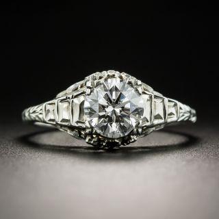 Art Deco 1.00 Carat Diamond Solitaire Engagement Ring - GIA E SI2 - 2