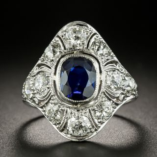 Art Deco 1.00 Carat No-Heat Sapphire and Diamond Dinner Ring - 2