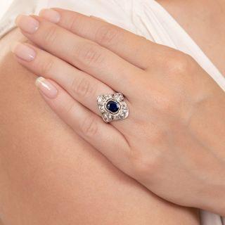 Art Deco 1.00 Carat No-Heat Sapphire and Diamond Dinner Ring