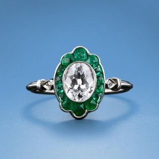 Art Deco 1.00 ct. Oval Diamond and Emerald Ring