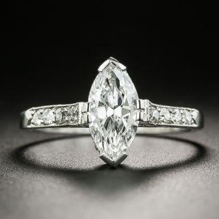 Art Deco 1.01 Carat Marquise Diamond Ring - GIA D VS1 - 2