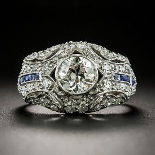 Art Deco 1.02 Carat Diamond and Calibre Sapphire Engagement Ring - 2