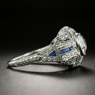 Art Deco 1.02 Carat Diamond and Synthetic Calibre Sapphire Engagement Ring
