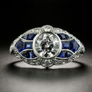 Art Deco 1.04 Carat Diamond and Sapphire Engagement Ring - GIA F VVS1 - 2
