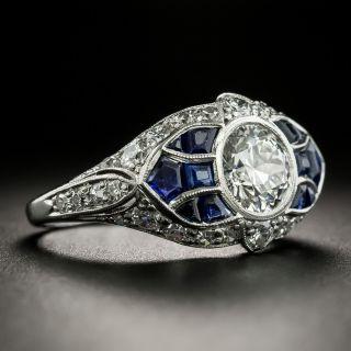 Art Deco 1.04 Carat Diamond and Sapphire Engagement Ring - GIA F VVS1
