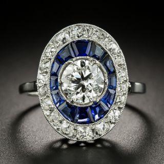 Art Deco 1.05 Carat Diamond and Sapphire Halo Ring - GIA F VS1 - 2