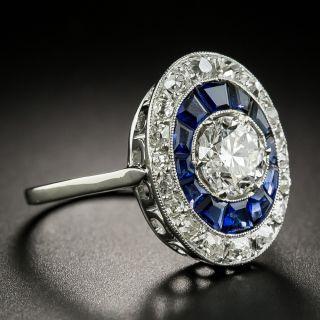 Art Deco 1.05 Carat Diamond and Sapphire Halo Ring - GIA F VS1