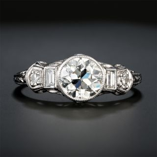 Art Deco 1.05 Carat Diamond Platinum Engagement Ring - GIA I SI2 - 2