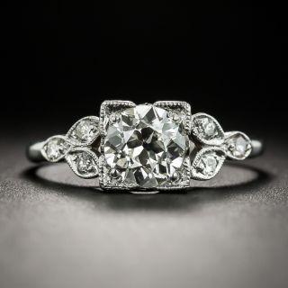 Art Deco 1.05 Carat Diamond Platinum Ring GIA L SI1 - 2