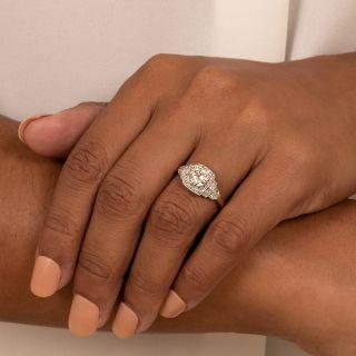 Art Deco 1.06 Carat Two-Tone Diamond Engagement Ring