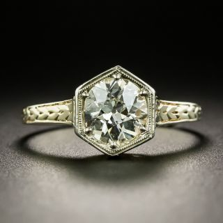 Art Deco 1.09 Carat Diamond Solitaire Engagement Ring - GIA N I1 - 2