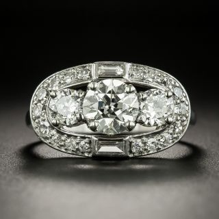 Art Deco 1.09 Carat Diamond Three-Stone Halo Ring - GIA J VS1 - 2