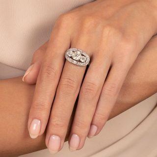 Art Deco 1.09 Carat Diamond Three-Stone Halo Ring - GIA J VS1