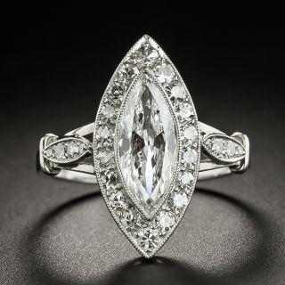 Art Deco 1.10 Carat Marquise Diamond Engagement Ring - 2