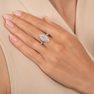 Art Deco 1.10 Carat Marquise Diamond Engagement Ring