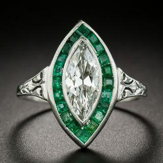 Art Deco 1.10 Marquise Diamond and Calibre Emerald Ring - 3