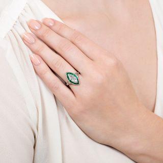 Art Deco 1.10 Marquise Diamond and Calibre Emerald Ring