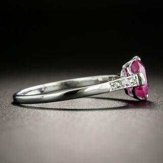 Art Deco 1.12 No Heat Pink Sapphire and Diamond Ring - GIA