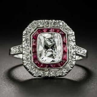 Art Deco 1.15 Carat Antique Cushion-Cut Diamond and Ruby Ring - GIA F VS2 - 2