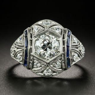 Art Deco 1.18 Carat Diamond and Calibre Sapphire Engagement Ring - GIA H SI1 - 2
