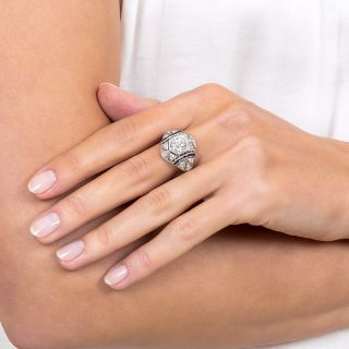Art Deco 1.18 Carat Diamond and Calibre Sapphire Engagement Ring - GIA H SI1
