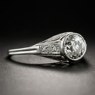Art Deco 1.19 Carat Diamond and Platinum Engagement Ring - GIA J SI1