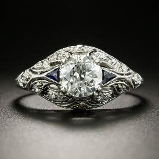 Art Deco 1.19 Carat Diamond and Synthetic Sapphire Engagement Ring - GIA F I1 - 2