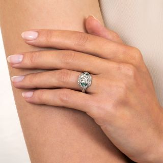 Art Deco 1.23 Carat Diamond and Emerald Engagement Ring - GIA N SI2