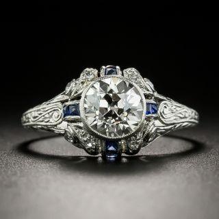 Art Deco 1.26 Carat Diamond and Calibre Sapphire Engagement Ring - 3