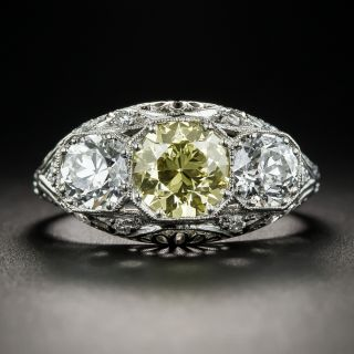 Art Deco 1.29 Carat Natural Fancy Yellow European-Cut Diamond Three-Stone Ring  - 1